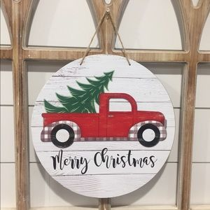 🎄 New Red Truck & Tree Christmas Sign